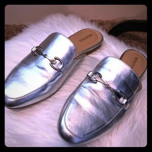 Silver Mules with bar detail. Great condition!
